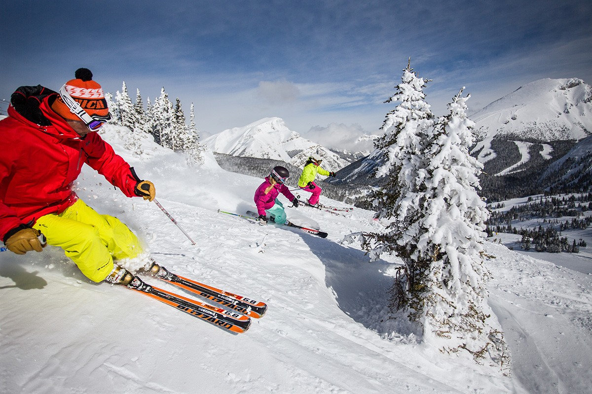 Banff Sunshine Village skiers trees credit - Banff Lake Louise Tourism Paul Zizka Photography