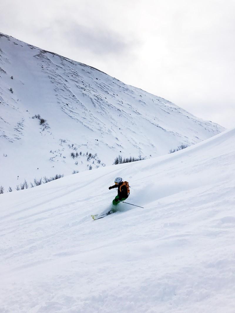 Andy Skiing in Bjorkliden