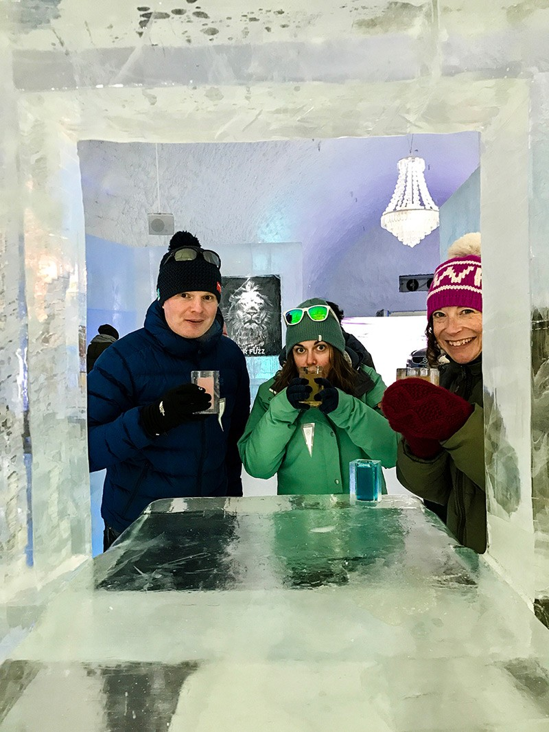 Sampling cocktails at the ICEHOTEL