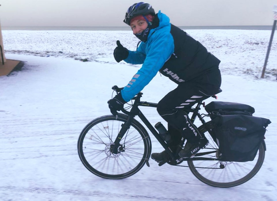 Rupert Cycling in the Snow