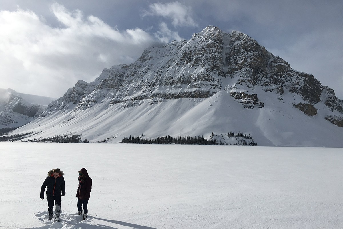 Exploring a Frozen Lake on the Icefields Parkway