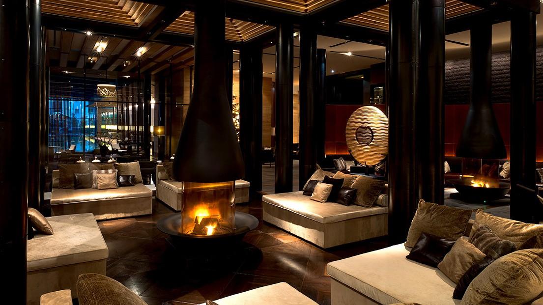 Chedi Andermatt Lobby Fireplaces