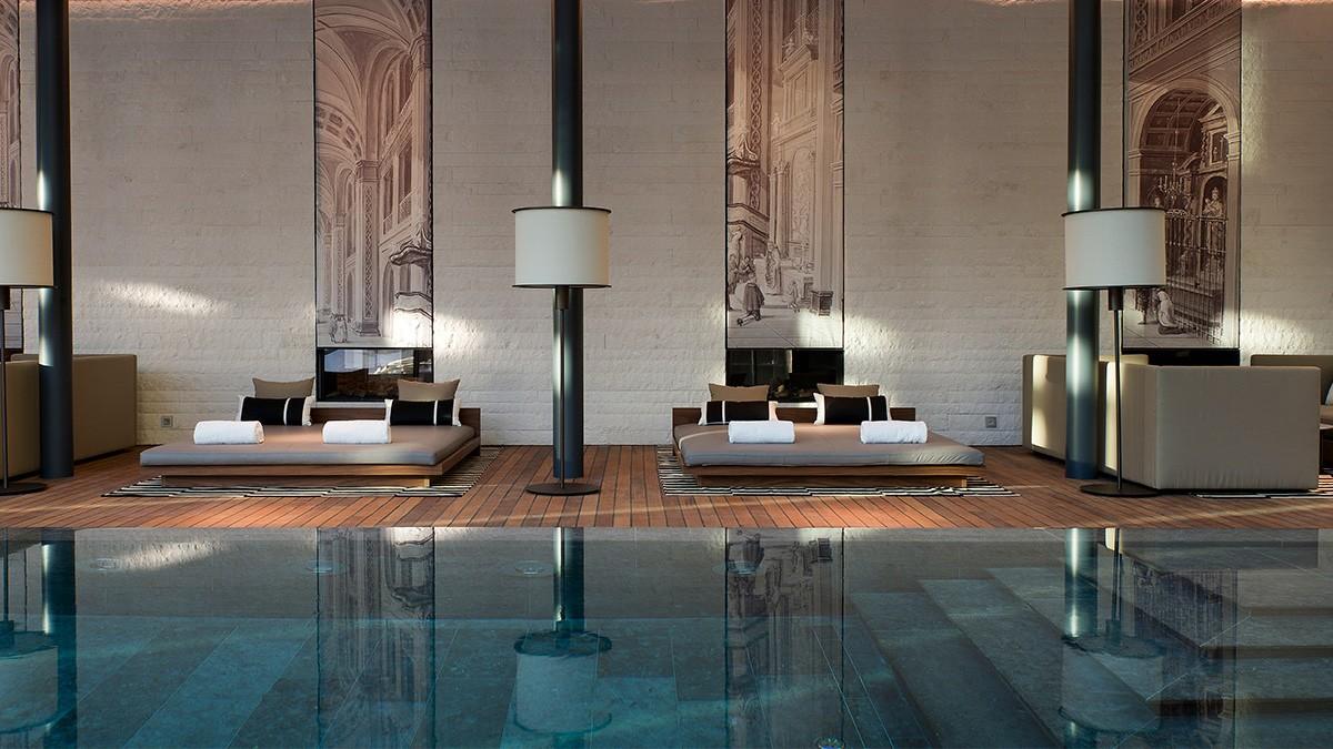 Chedi Andermatt Indoor Pool Lounges