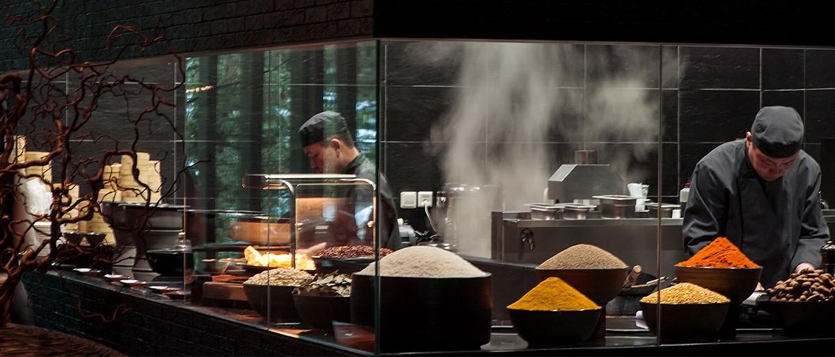 Chedi Andermatt The Restaurant Theatre Kitchen Asian Chefs