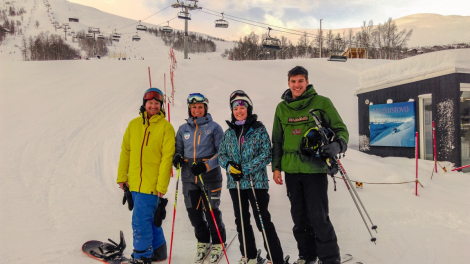 Kevin, Tara and Ross in Myrkdalen with Instructor Jill Dec 2017