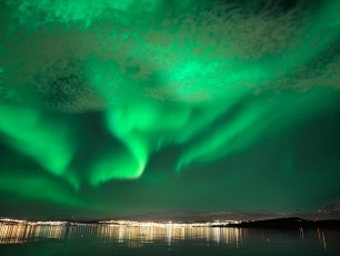 Tromso And Northern Lights From The Water